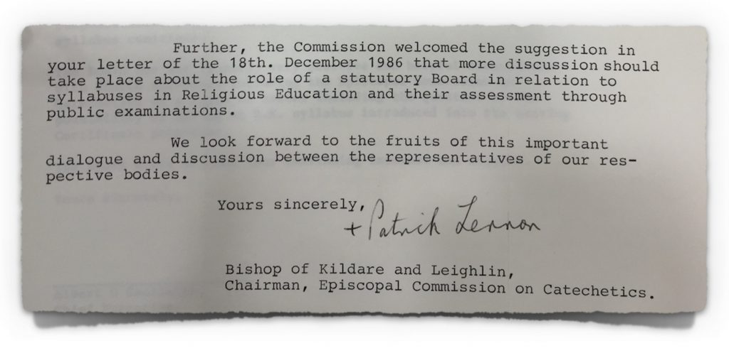 Letter from Episcopal Commission on Catechetics on 6th February 1987