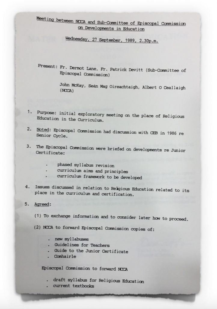 Minutes of Meeting between NCCA and Catholic Church from 27th September 1989
