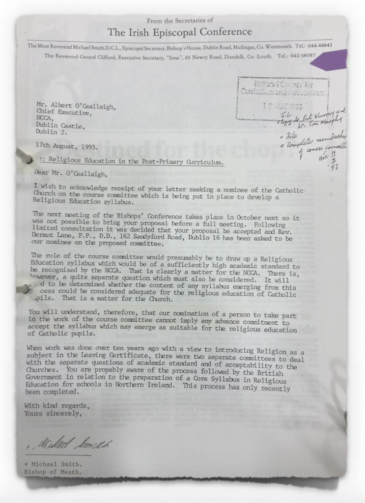 Letter from Episcopal Conference to NCCA on 17th August 1993