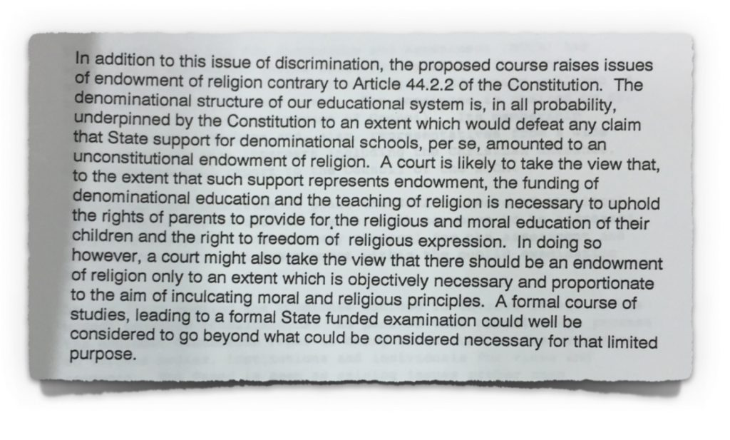 Extract 2 of Letter from DoE to NCCA from 10th March 1994