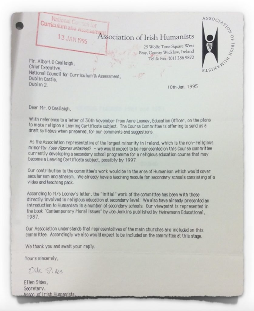 Humanist Letter to NCCA on 10th January 1996