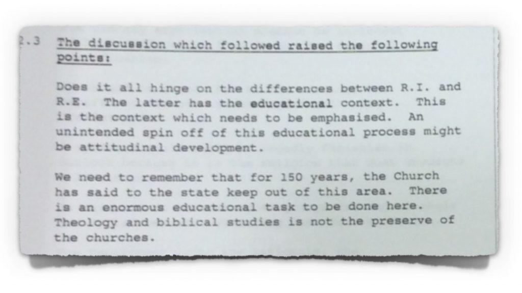 Extract 2 from minutes of NCCA Course Committee meeting with DoE from 30th January 1995