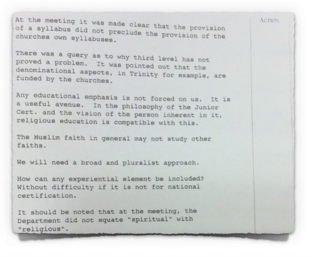 Extract 3 from minutes of NCCA Course Committee meeting with DoE from 30th January 1995
