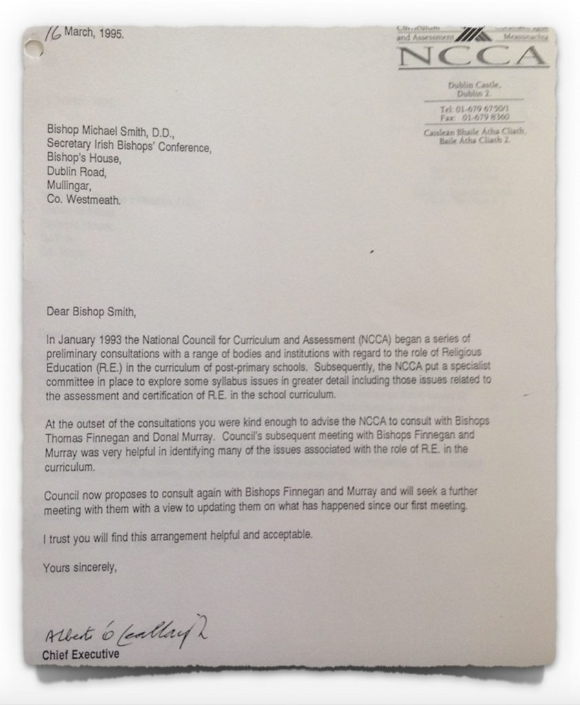 Letter from NCCA to Bishop Smith on 16th March 1995
