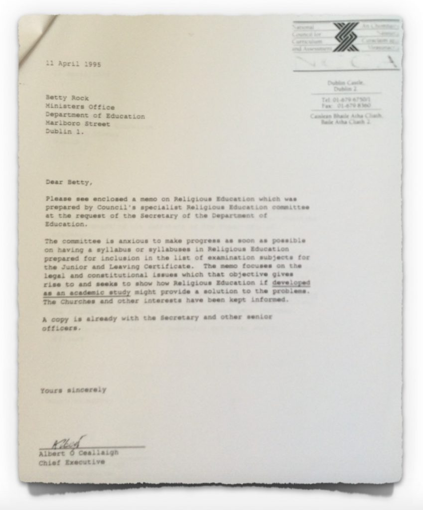 NCCA Letter to Department of Education from 11th April 1995