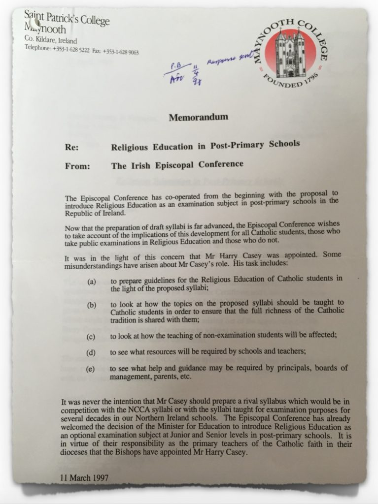 Catholic Church Letter to NCCA on 11th March 1997