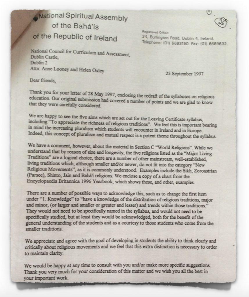 Bahá'ís Letter to NCCA on 25th September 1997