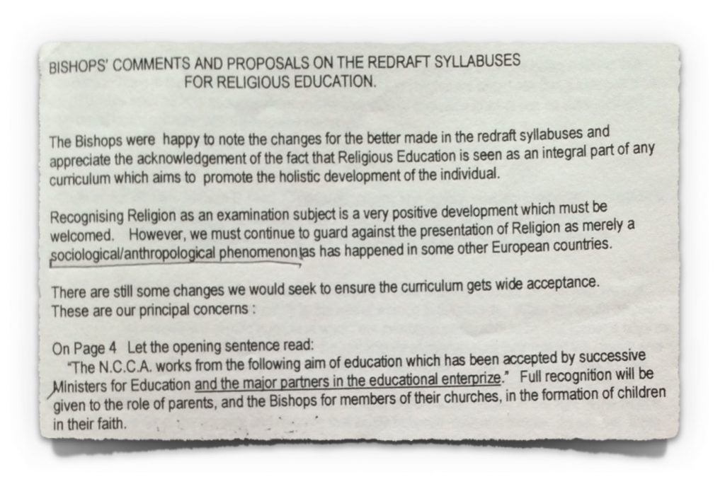 Extract 1 from Irish Bishops' Submission to NCCA from 23rd October 1997