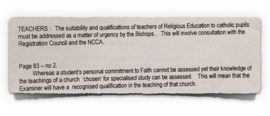 Extract 3 from Irish Bishops' Submission to NCCA from 23rd October 1997