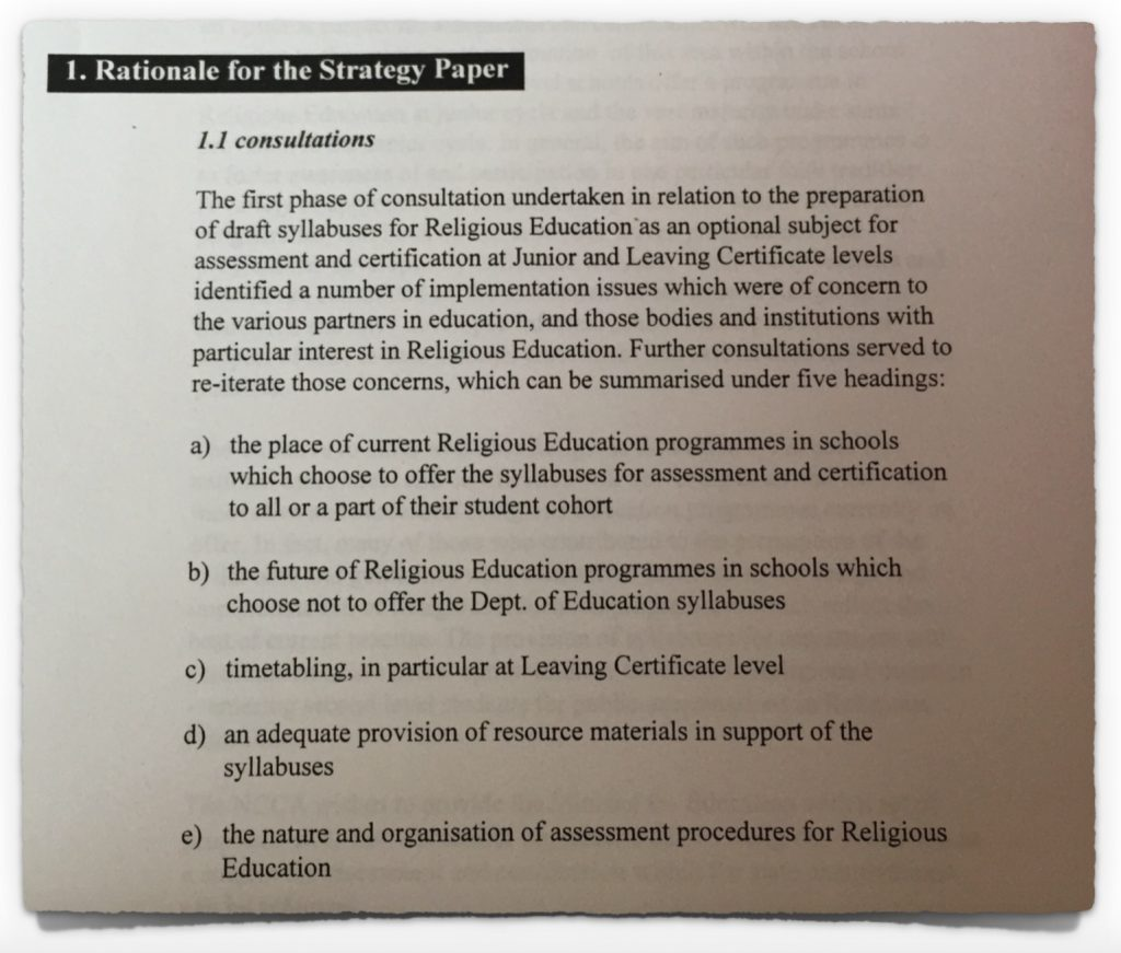 Rationale from the NCCA Strategy Paper of 19th November 1997