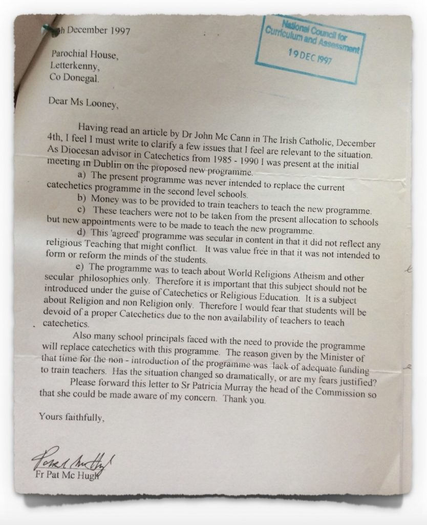Letter from Diocesan Adviser to NCCA from 5th December 1997
