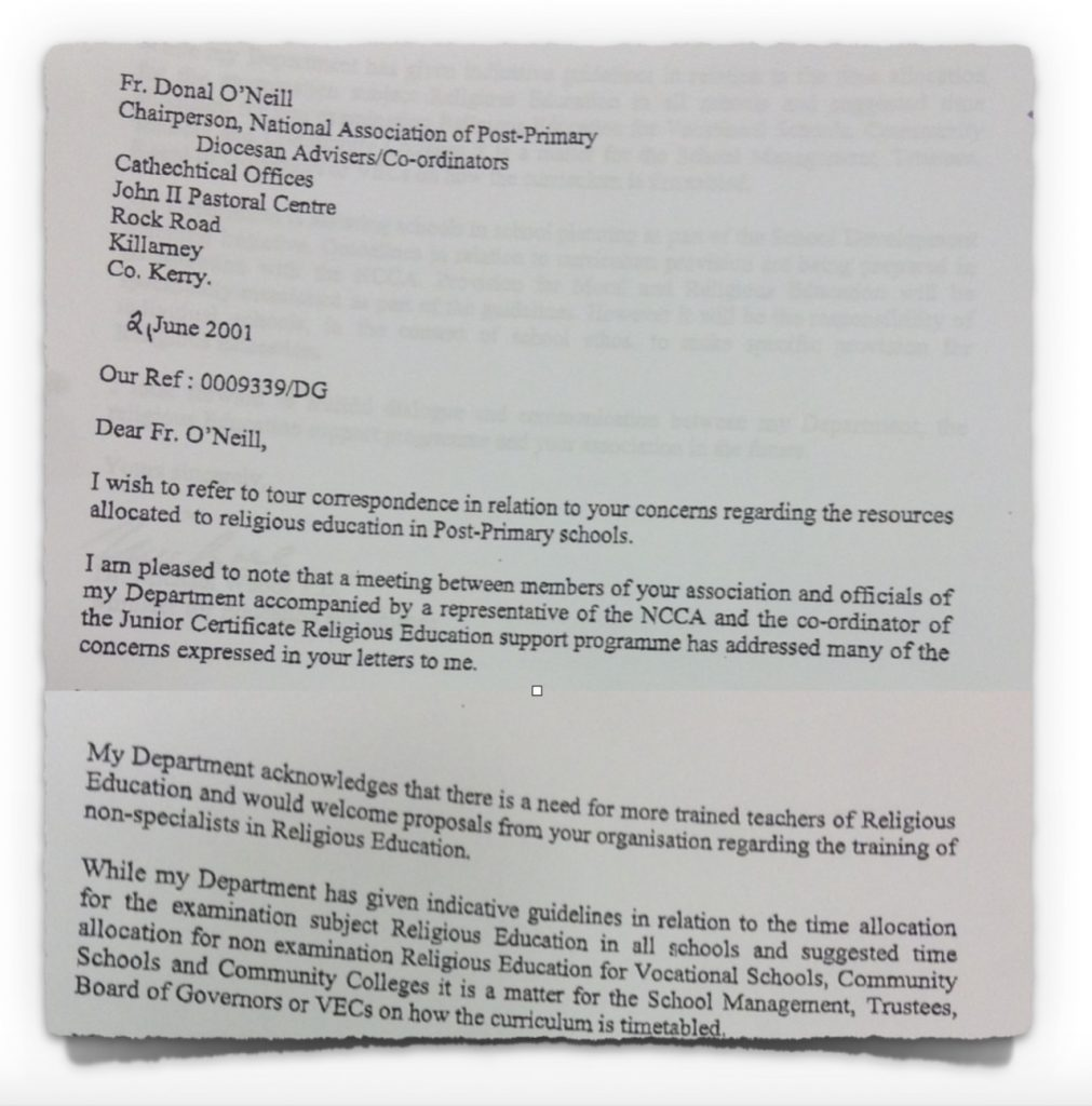Letter from Minister Michael Woods to Diocesan Advisers from 2nd June 2001
