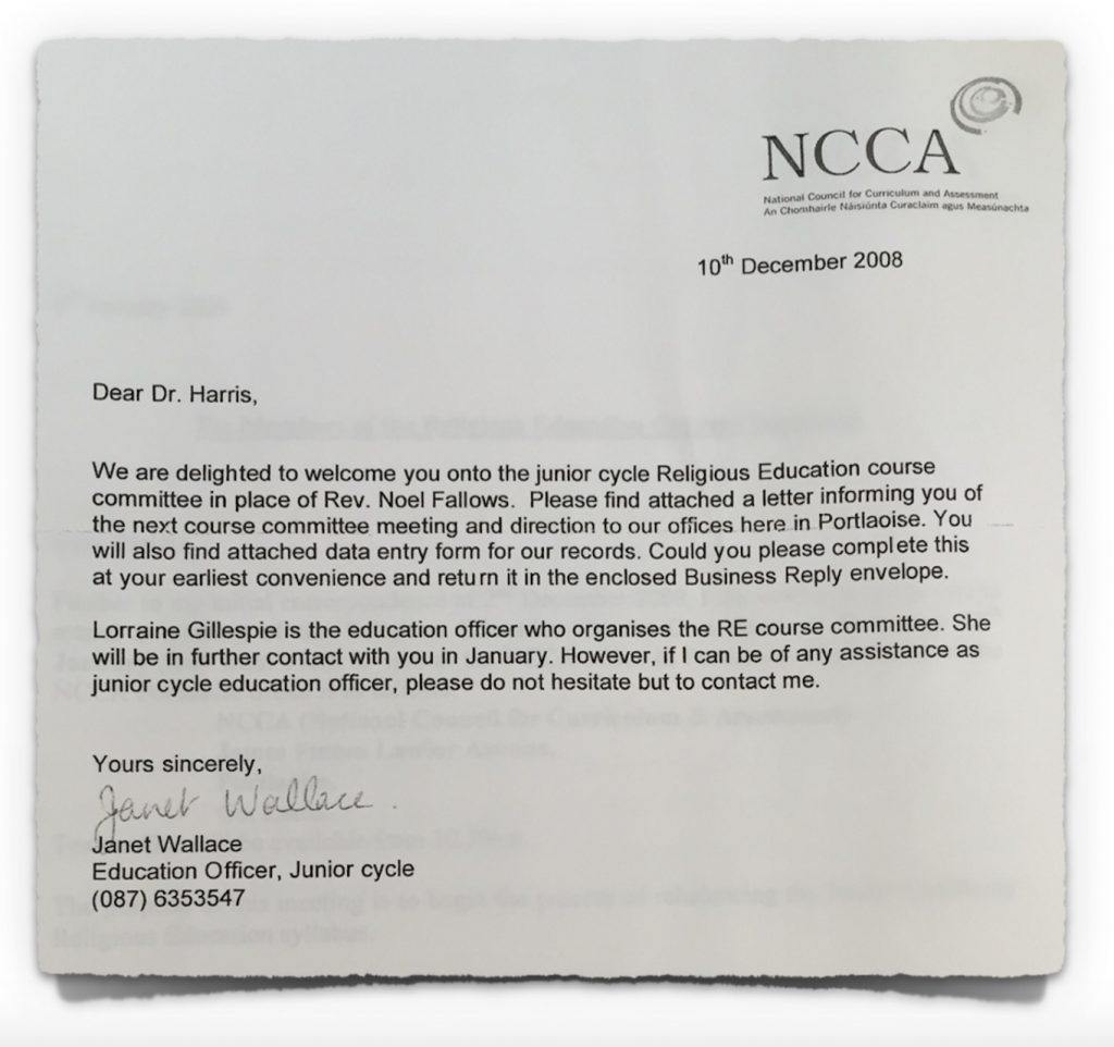 NCCA Letter to Methodists on 10th December 2008