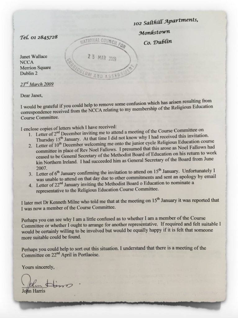 Methodist Letter to NCCA on 23rd March 2009