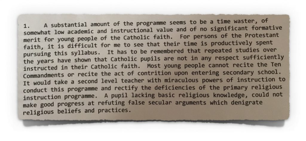 Hegarty comments on secularism from 20th April 2009