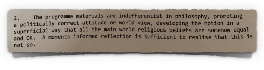 Hegarty comments on indifferentist notions from 20th April 2009