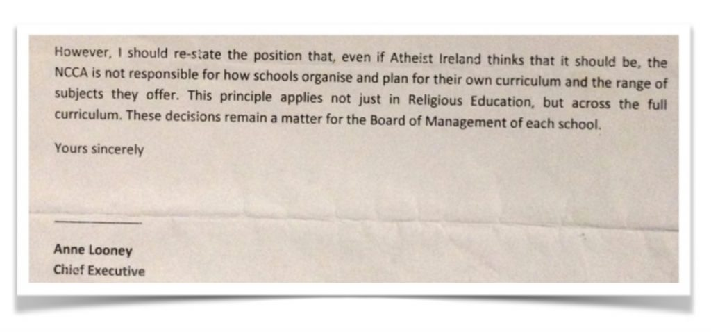 Extract from NCCA letter to Atheist Ireland, December 2010