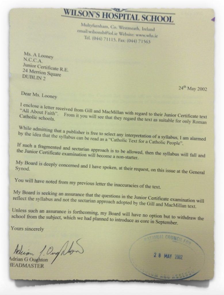 Letter from Church of Ireland school, 24th May 2002