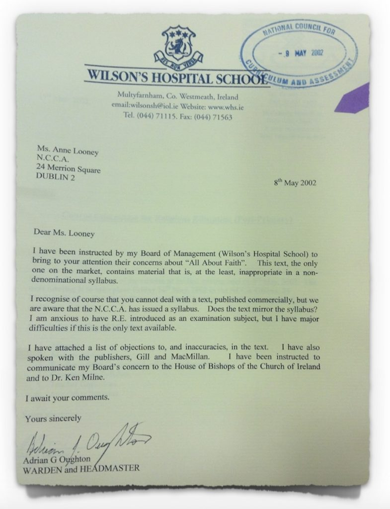 Letter from Church of Ireland school, 8th May 2002