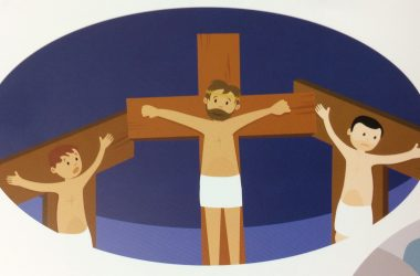 National Schools show children cartoon images of young boys being tortured on crosses