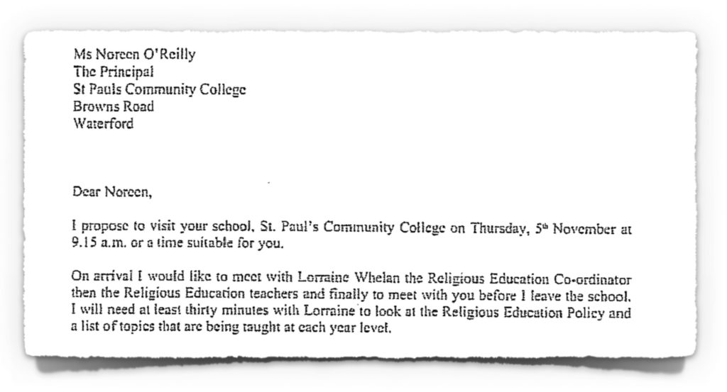 2015-10-20 Letter from Diocesan Advisor to ETB School Principal