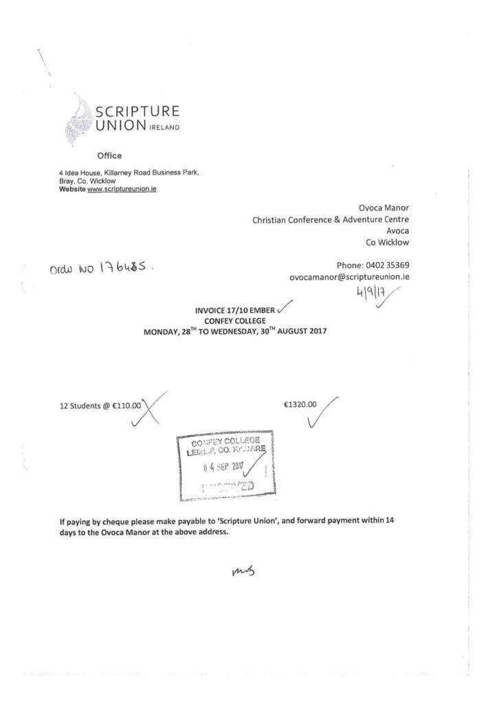Invoice for Ember Faith Leadership Programme paid by Confey College
