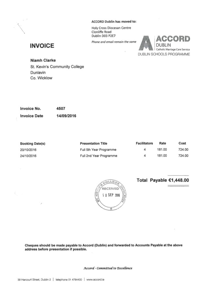 Invoice from Accord to St Kevin's Community College for Sex-Ed Programme