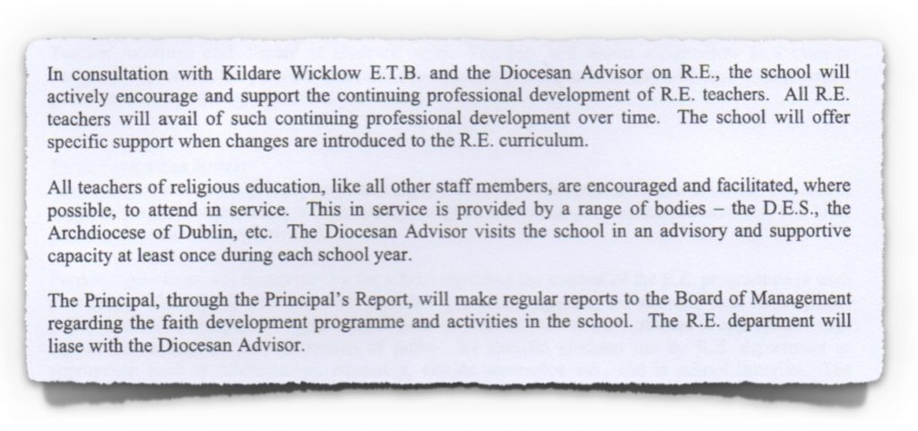 Extract from Religious Education Policy at Colaiste Lorcain