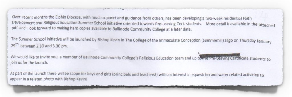 Invitation to School Principal on 16th January 2015, which was accepted