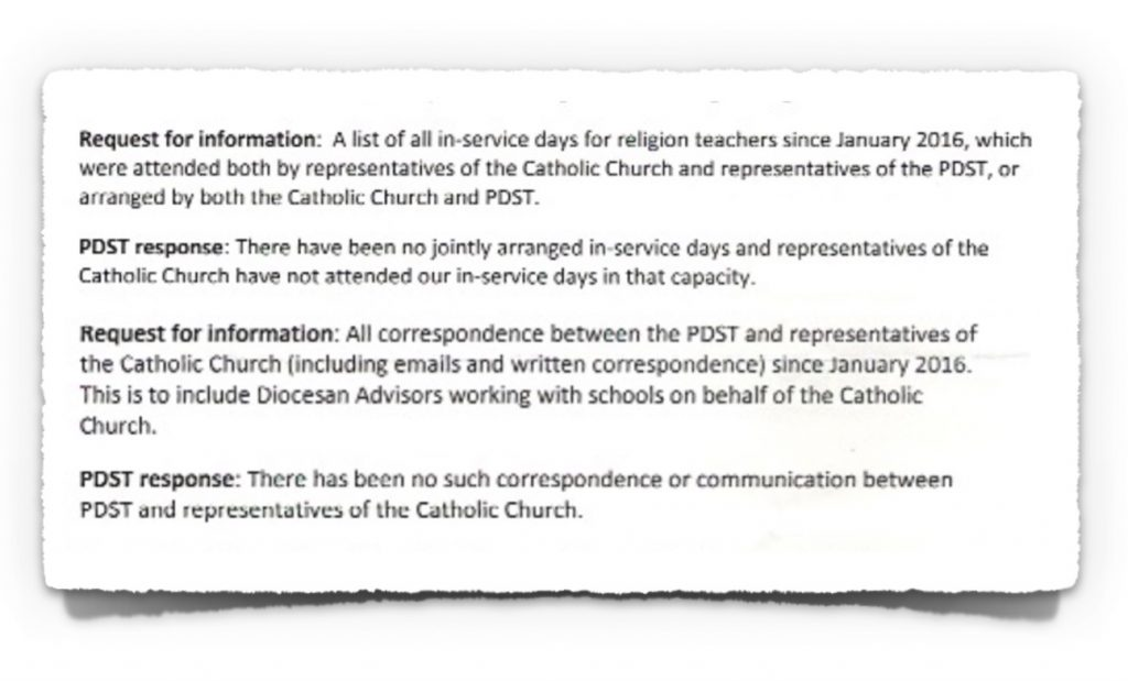 FoI Response from PDST on 30th January 2018