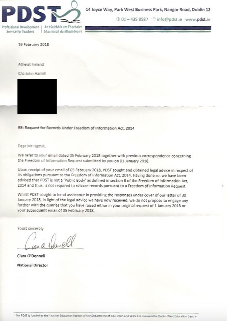 Letter from National Director of the PDST